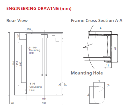 Engineering Drawing for 300 Mono Perc