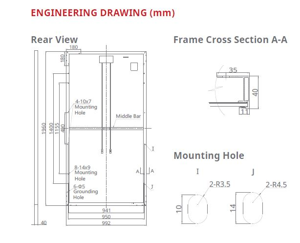 Engineering Drawing for 330 Poly Crystalline Module
