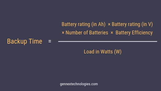 Formula for Calculating backup time of Online UPS